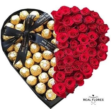 1298  Corazón de rosas y chocolates