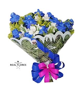 1457  Buquê com Rosas Premium azul