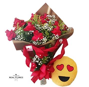 1503 Buquê de rosas premium e emoji